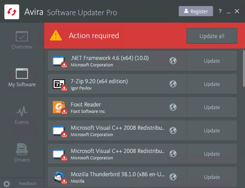تحميل برنامج Avira Software Updater هو برنامج أمان وخصوصية
